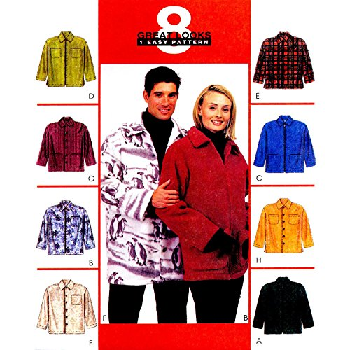 McCall's 9639 Misses and Mens Unisex Shirt-Jacket Chest Size 46-48 ~ 8 Great Looks Sewing Pattern (Mccall Winter Coat Patterns)