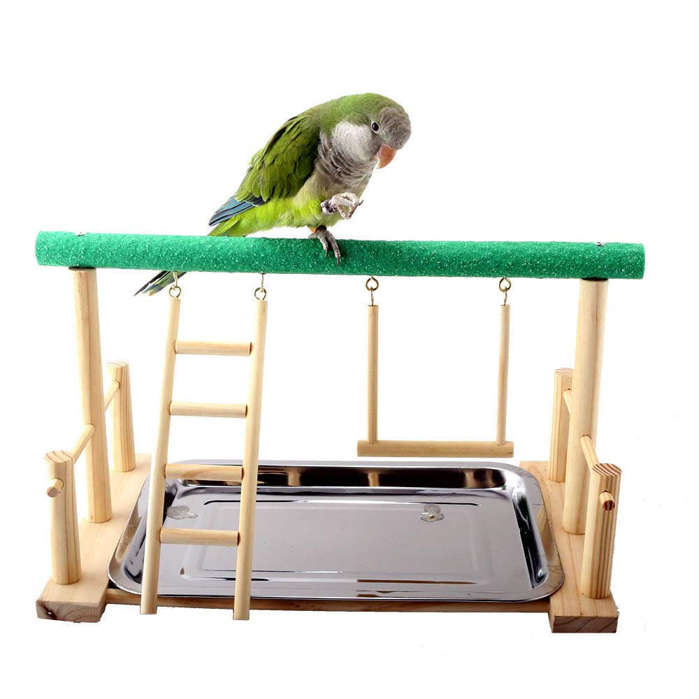 Mrli Pet Parrot Playstand Bird Play Stand Cockatiel Playground Wood Perch Gym Playpen with Ladder Swing Toys Exercise Play (Include a Tray) by Mrli Pet