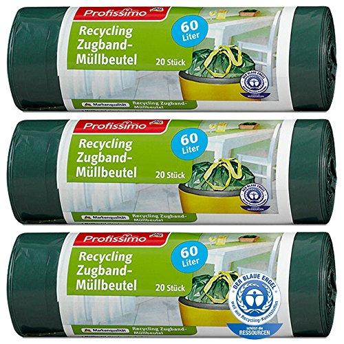 Öko Müllbeutel - 60 Liter (60 Stück) - Extrem Reißfest & Flüssigkeitsdicht - 3er Pack (3x20 Stück) -