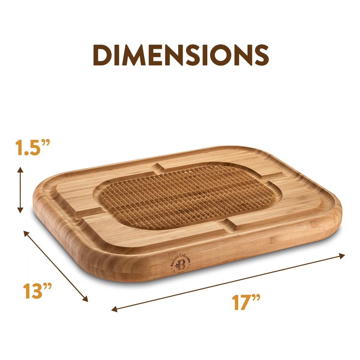 Bambusi Large Carving Cutting Board - 100% Natural Bamboo Meat Serving Tray with Deep Juice Grooves | Stabilizes Beef & Poultry While Chopping | Great Father's Day Gift Idea by Bambüsi (Image #2)
