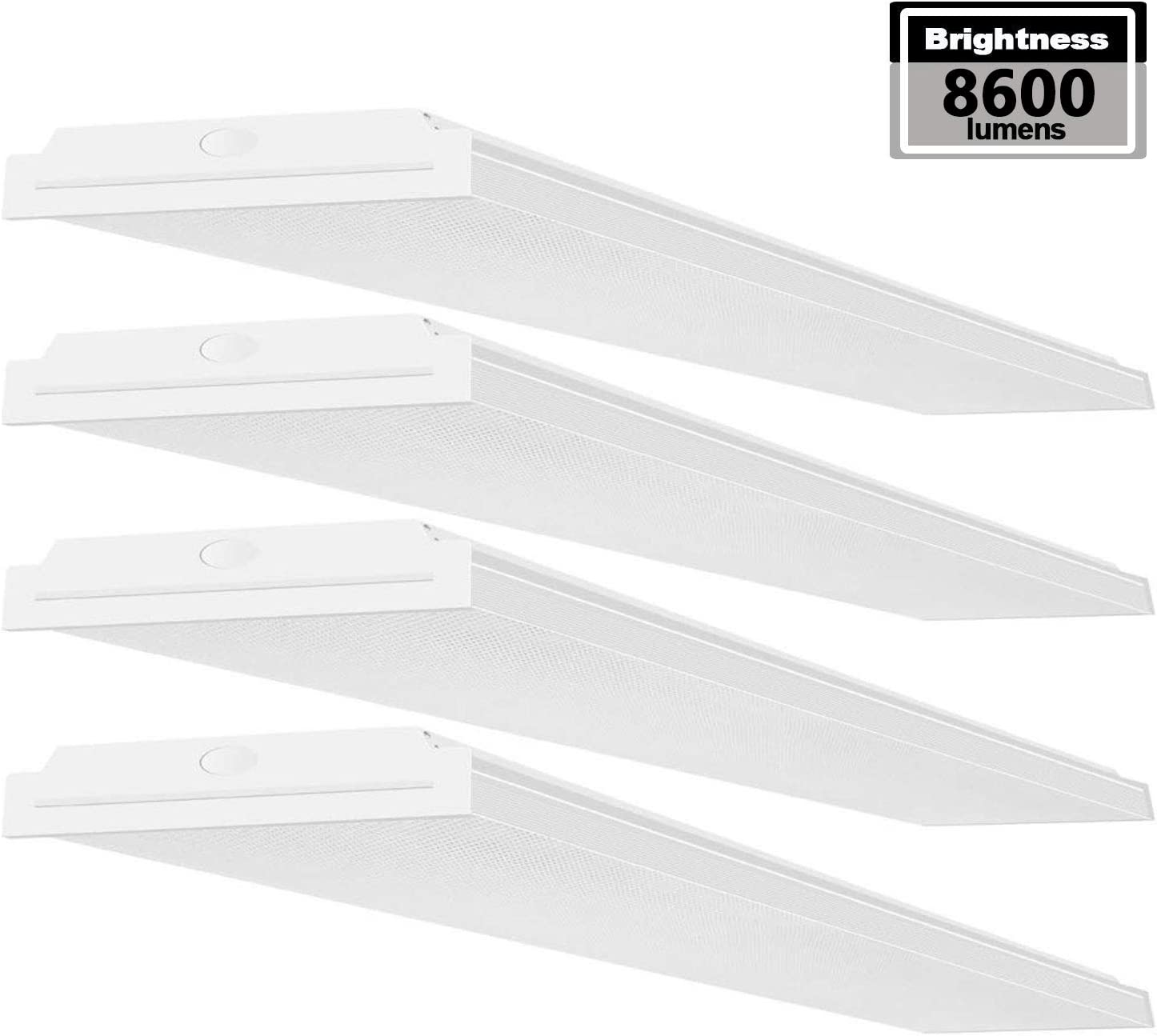 AntLux 72W LED Office Lights Ceiling 4FT LED Wraparound Light, 8600 Lumens, 4000K Neutral White, 4 Foot Flush Mount Wrap Shop Light Fixtures for Garage Workshop, Fluorescent Light Replacement, 4 Pack