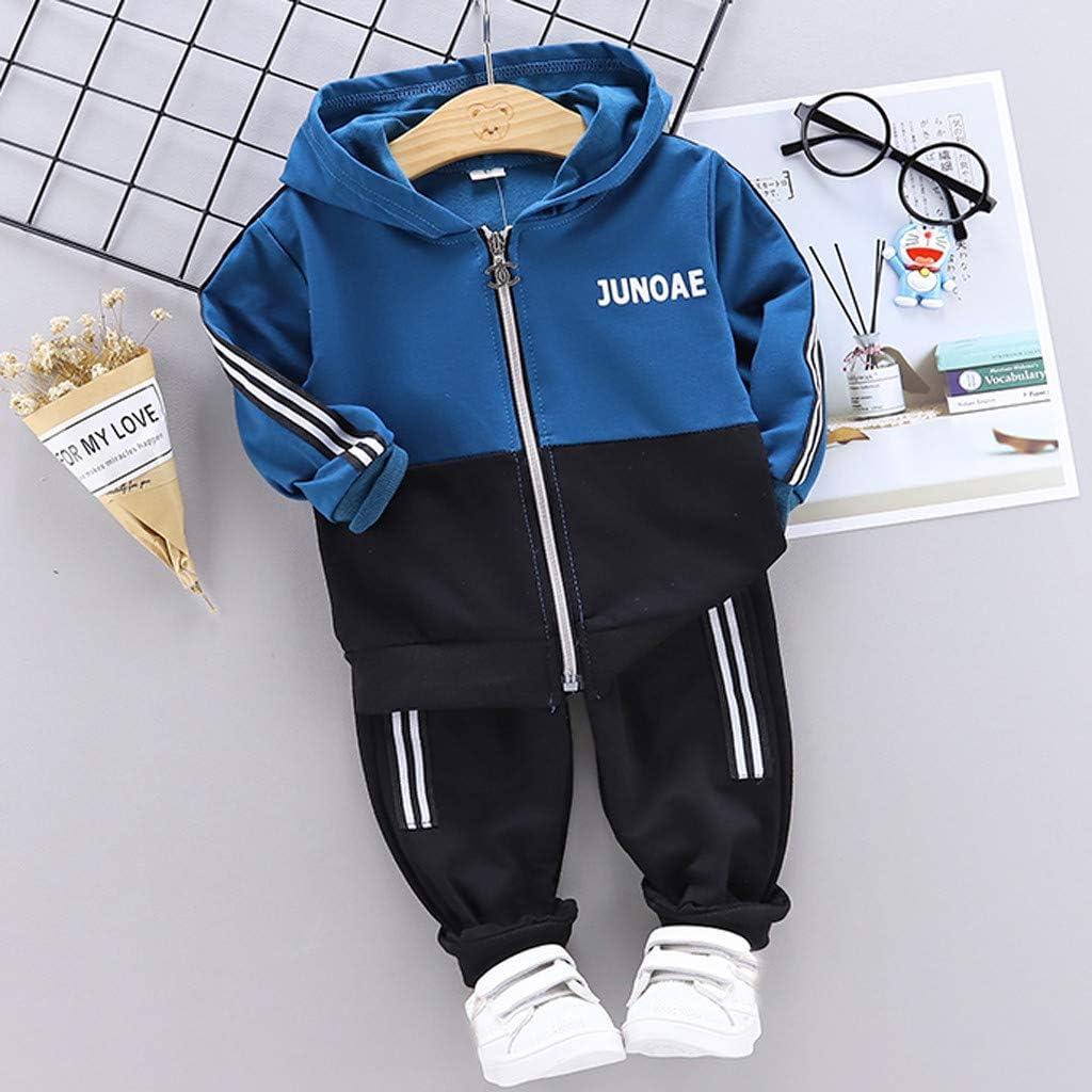 Winkey  Kinderanzug Kinder und Kinder Baby Boy Mit Kapuze Rei/ßverschluss Buchstaben Langarm-Hemd Hose Zweiteiliger Anzug