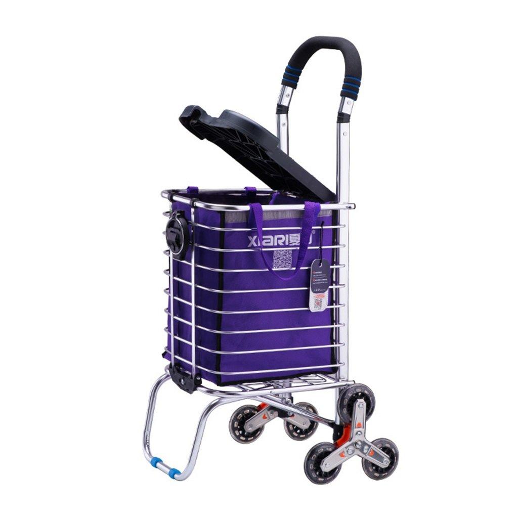 ショッピングカートレバー車シニアトロリーショッピングカートリトルプル車は階段を座ってプッシュすることができます登山ハンドカーハンドトラック 丈夫で持ち運びやすい (色 : A)  A B07FB8XSNR