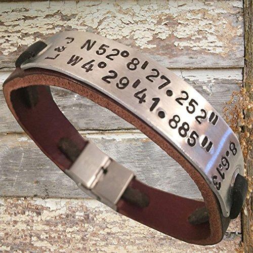 Hand stamped bracelet,Personalized bracelet,Men's leather bracelet,Men's personalized bracelet,Women's leather bracelet,Coordinate bracelet,Latitude longitude bracelet,Id bracelet,Engraved bracelet