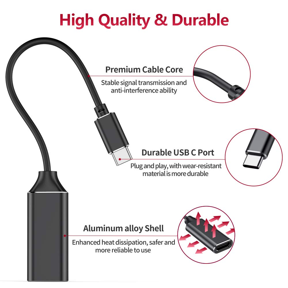 Samsung,Pad Pro 2018 Support Thunderbolt 3 ,Video Audio Output for MacBook Pro 2018//2017//2016,MacBook Air black Huawei Mate 20 and More USB C to HDMI Adapter,Type C to 4K HDMI Adapter,
