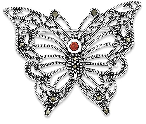 ing Silver Marcasite Red Cubic Zirconia Cz Butterfly Pin Fine Jewelry Gift Valentine Day Set For Women Heart (Heart Marcasite Set)
