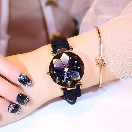Relojes Para Mujer, Corte De Diamante Starry Sky Dial, Cuero Con Cinturón De Gamuza