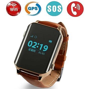 Montre connectée Retro cuir montre GPS/GSM Tracker SOS Smart Watch activité physique HR Cardio