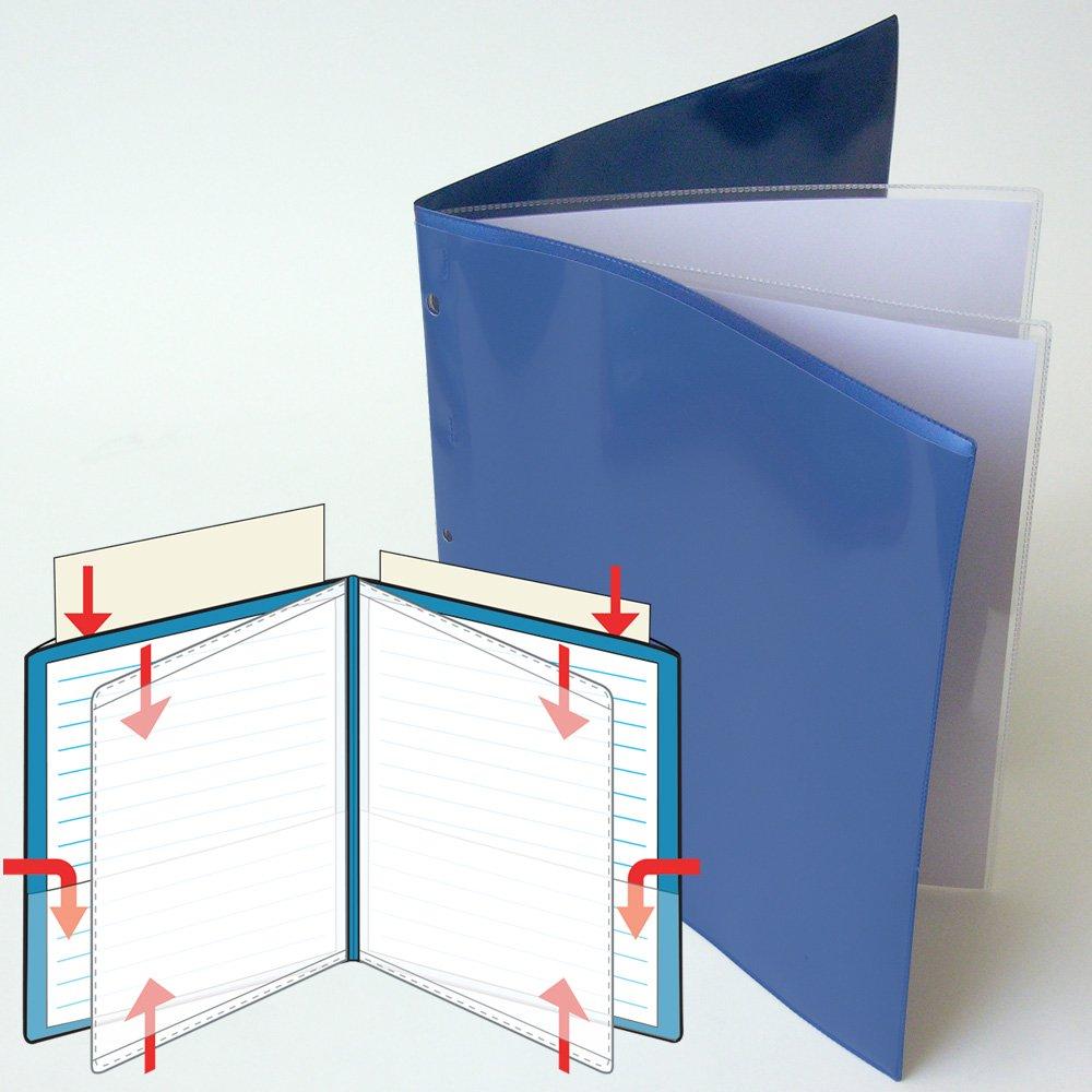 StoreSMART® - 9 7/16'' x 11 3/4'' Multi-Pocket Folder - Metallic Blue - Two-Page - 50 Pack - ZR8004-MB-50