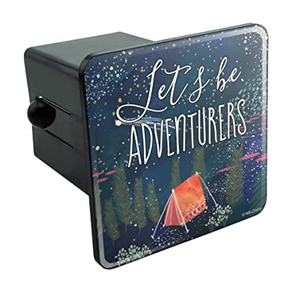 Graphics and More Let´s Be Adventurers Tent Camping Night Moon Shooting  Stars Tow Trailer Hitch Cover Plug Insert 2