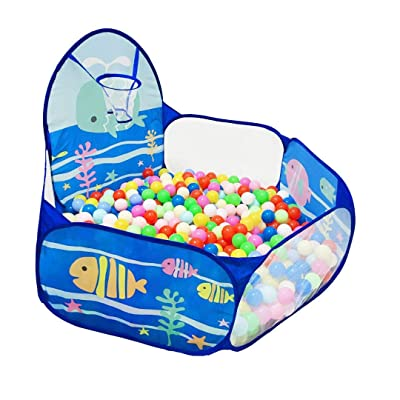 LOJETON Kids Ball Pit Pop Up Children Play Tent, Toddler Ball Ocean Pool Baby Crawl Playpen with Basketball Hoop and Zipper Storage Bag - Balls Not Included: Toys & Games