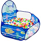 LOJETON Kids Ball Pit Pop Up Children Play Tent, Toddler Ball Ocean Pool Baby Crawl Playpen with Basketball Hoop and Zipper Storage Bag - Balls Not Included