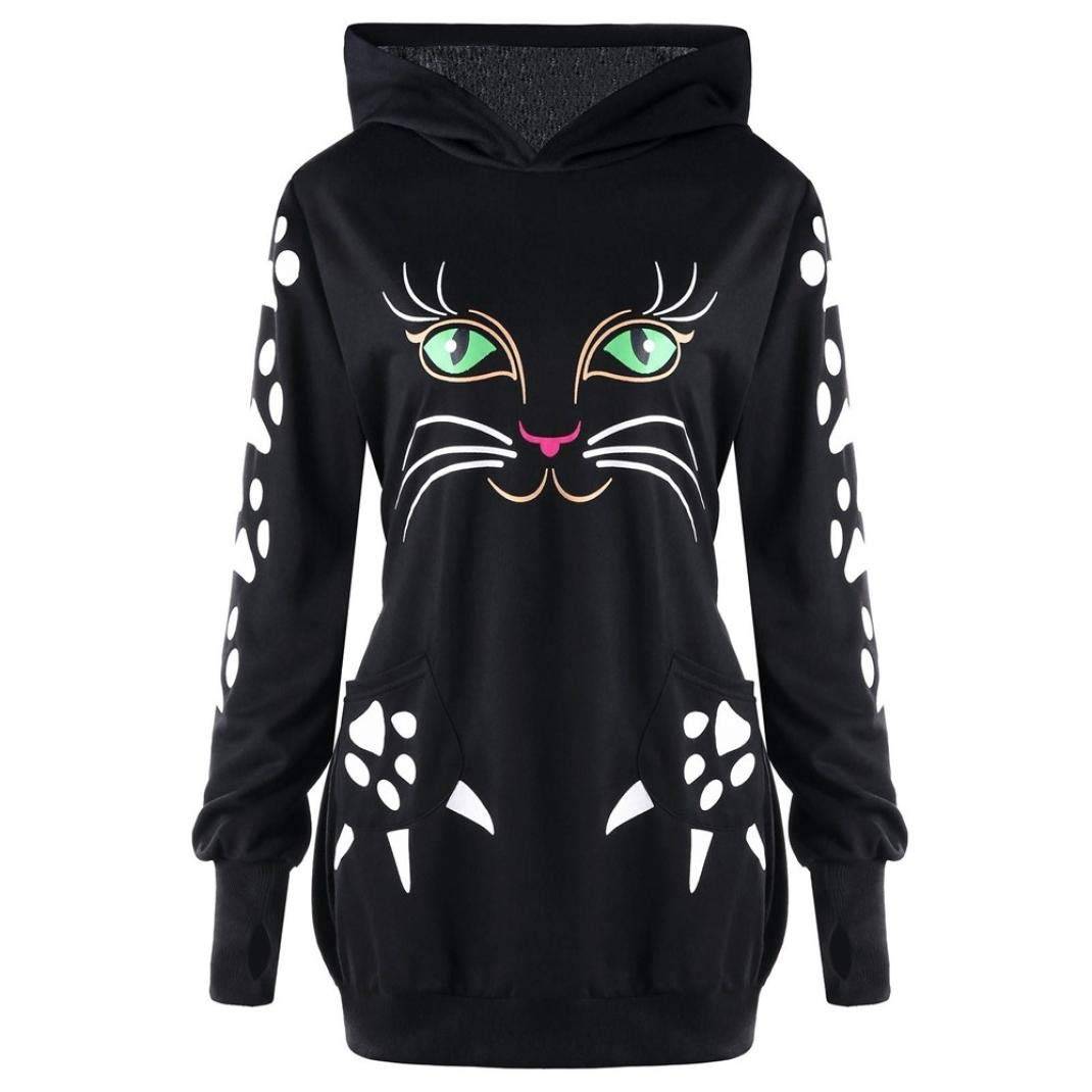 YANG-YI HOT, Clearance Womens Sweatshirt Cat Print Hoodie with Ears Hooded Pullover Tops Blouse