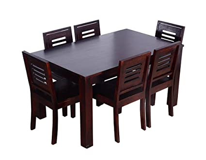 Contemporary Style 6 Seater Rectangula Dining Table Set Teak Wood
