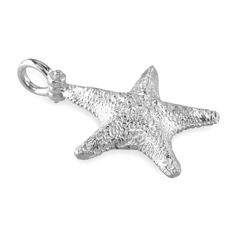 Sziro Ocean and Beach Jewelry Medium Cushion Sea Star Charm in Sterling Silver
