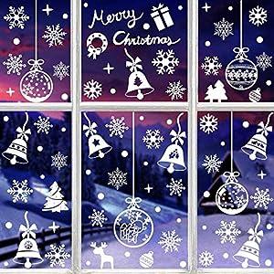 HIQE-FL Natale Vetrofanie Babbo,Vetrofanie Fiocchi di Neve per Natale,Vetrofanie Natalizie per Finestre,Decorazione Vetrina Natale,Natale Adesivi Finestre (A) 8 spesavip