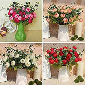 Auntwhale 10 Heads Rose Bride and groom Holding flowers Artificial Silk Flowers Fake Rose For Wedding,Party,Valentine's Day 12