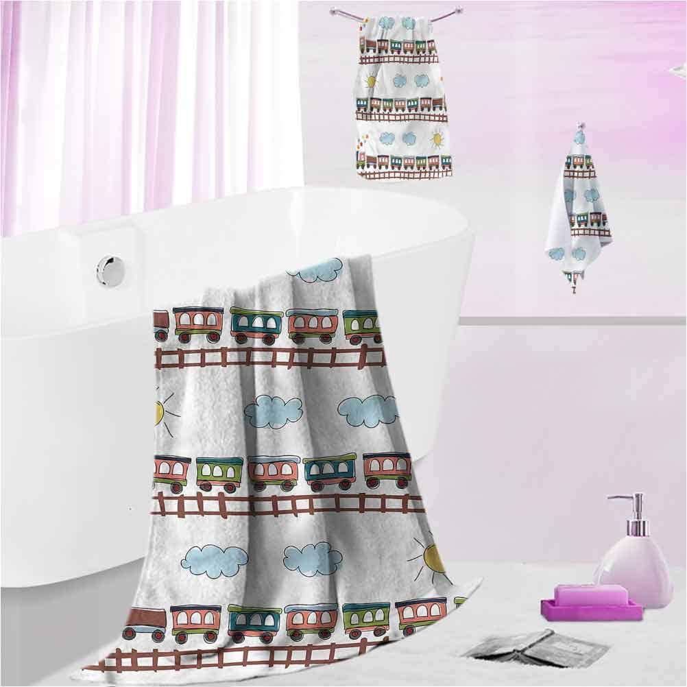 DayDayFun Kids Bath Towel Sets Boys Bathroom Set - Ultra Soft Bathroom Towels Set Cartoon Train Tracklines S - Contain 1 Bath Towel 1 Hand Towel 1 Washcloth