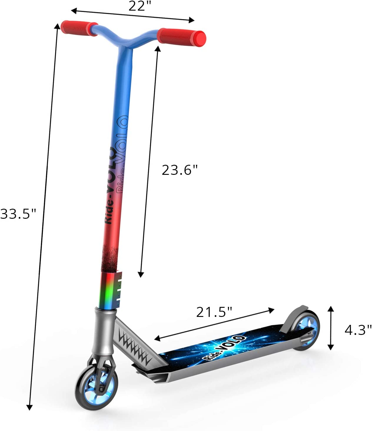 Best Entry Level Trick Scooter with Aluminum Alloy Core Wheels RideVOLO Pro Stunt Scooter Lightweight BMX Freestyle Kick Scooter for Beginners Kids 8 Years and Up Teens Adults