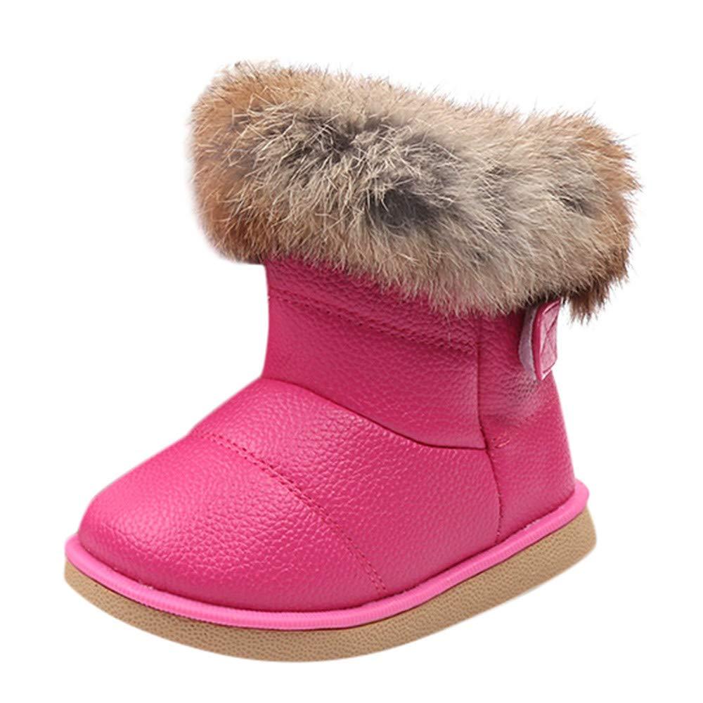 Foncircle Children'S Plush Fur PU Leather Warm Snow Boots Short Boots Shoes