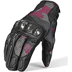ILM Motorcycle Gloves Touchscreen Leather Hard Knuckle Fit for Men Women (Red, L)