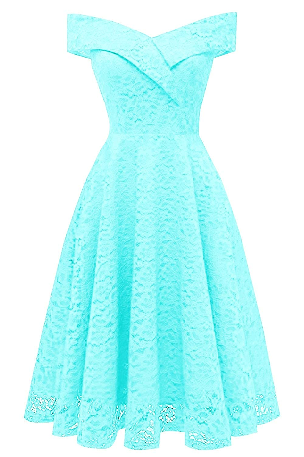 Ice bluee MorySong Women's Lace Off The Shoulder Knee Length Cocktail Homecoming Dress