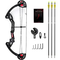 "ANTSIR Compound Bow for Teens and Kids,Adjustable Twin Cam 15-29lbs 19""-28"" Archery Hunting Equipment 65% Let Off with Max Speed 260fps"