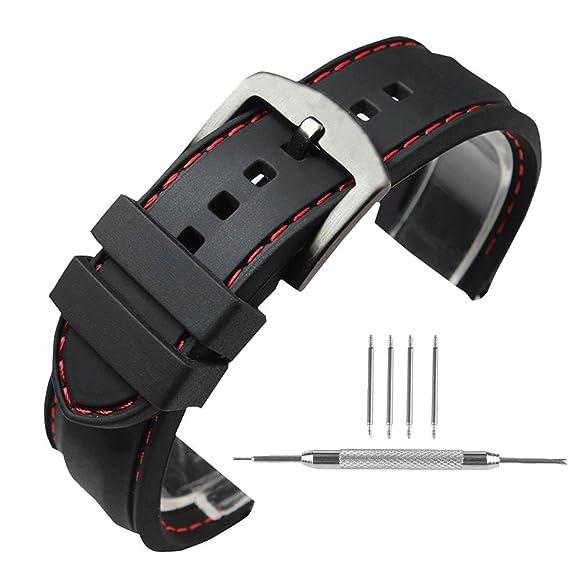 0f2077f30 Correa de silicona para reloj de Yisuya, 22 mm, hebilla de acero inoxidable,  impermeable, color negro con banda roja: Amazon.es: Relojes