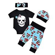 4pcs Newborn Baby Boys Girls Skull Romper+Pants+Hat+Mitten Halloween Outfit Set (Black, 12-18 Months)