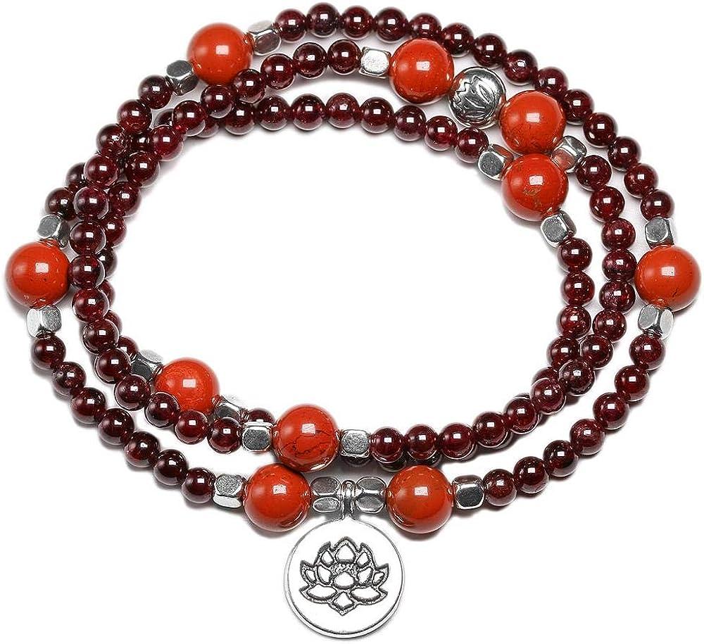 SWAOOS 108 Mala Cuentas Loto Om Pulseras Tibetano Buda Buda Encanto Rosario Collar Yoga Gema para Mujeres Hombres Rojo Jasper 4Mm Granate
