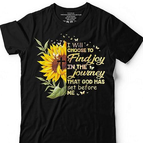 ac630916 Amazon.com: I Will Choose To Find Joy God Has Set Christian Cross Sunflower  Christ Customized Handmade T-Shirt Hoodie/Long Sleeve/Tank Top/Sweatshirt:  ...