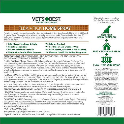 Large Product Image of Vet's Best Flea and Tick Home Spray | Flea Treatment for Dogs and Home | Flea Killer with Certified Natural Oils | 32 Ounces