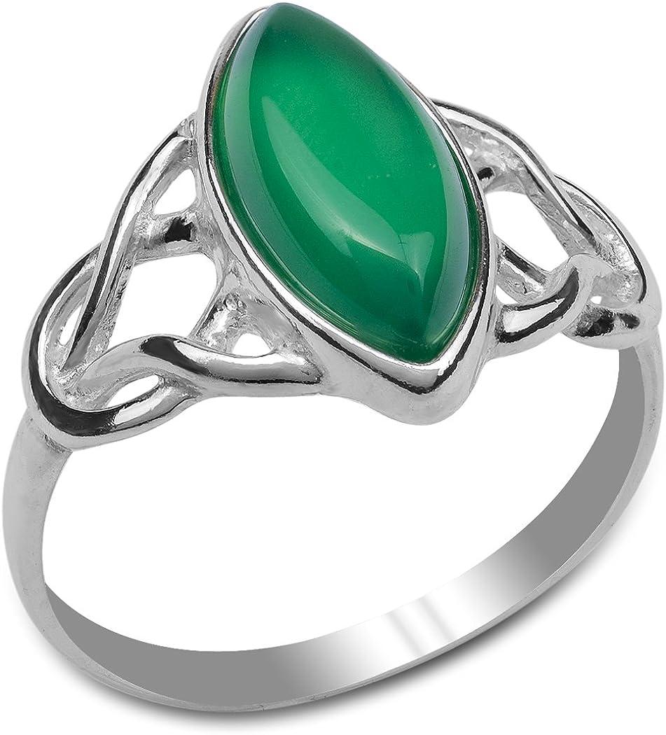Verde ágata plata de ley celta anillo Marquise