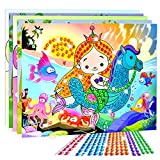 Crystal mosaics sticker Qiyun 10 Pcs 3D Crystal Mosaics Sticker Creative Art Sticker Intelligent Development Toys Christmas Birthday Gift (Random Send)