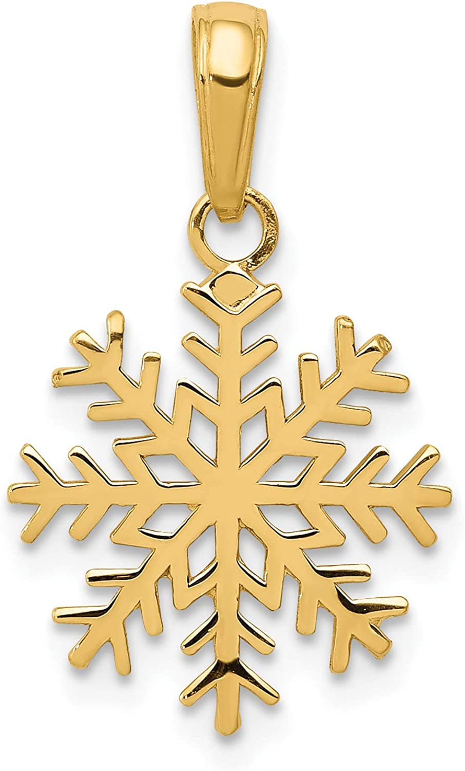 14k Yellow Gold 3-D Snowflake Pendant with Polished Finish 20x14mm