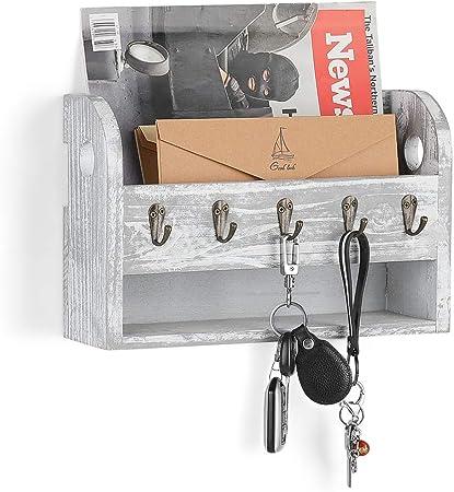 Haitral Key Holder With Storage Tray Mail Organiser Mail Sorter Wall Mount Mail Key Holder Organiser With 5 Hooks For Mail Keys Magazine Amazon Co Uk Kitchen Home