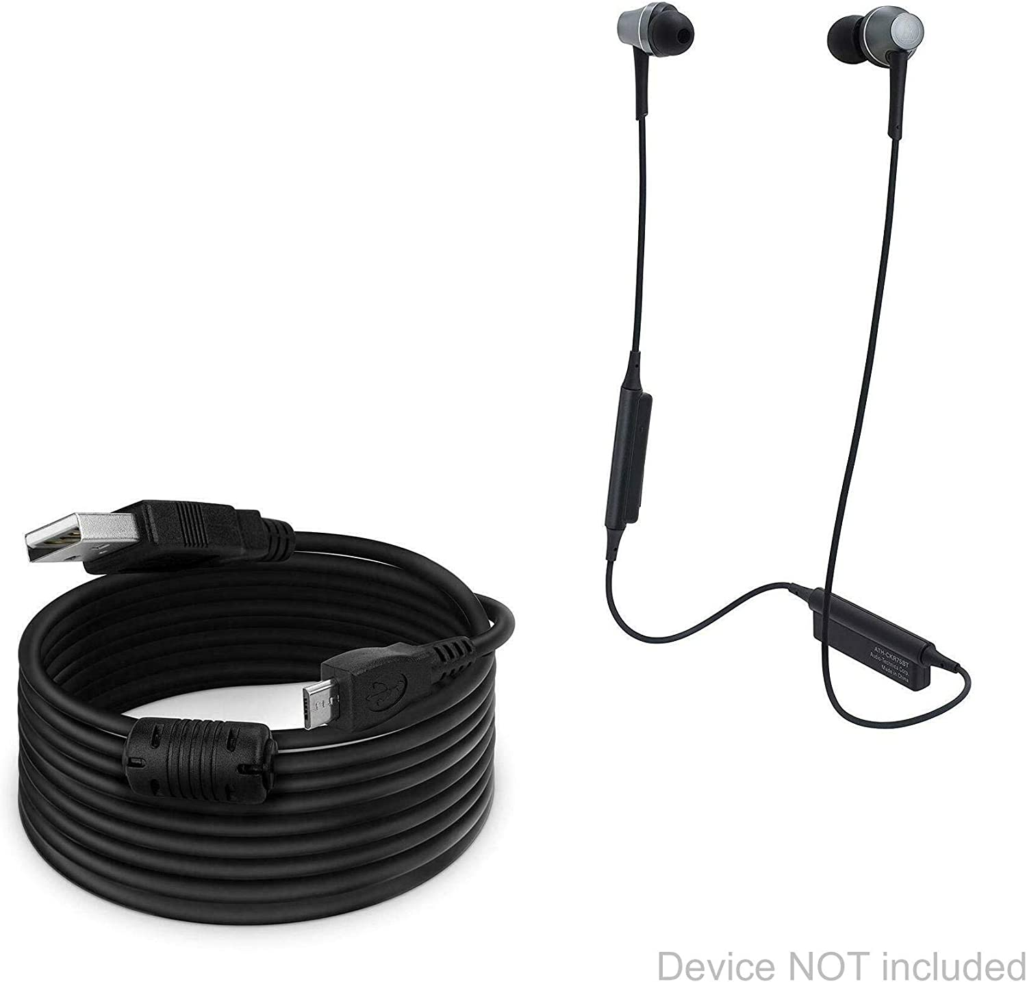 Black Extra Long Charge and Sync Cable for Audio-Technica ATH-CKR75BT 15 ft DirectSync BoxWave Audio-Technica ATH-CKR75BT Cable Cable