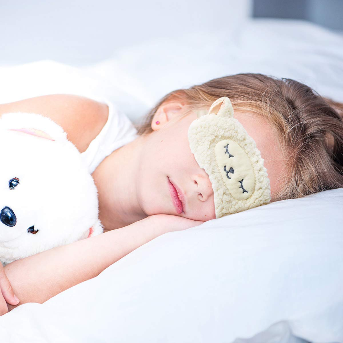 2Pcs Masque de Sommeil HOMEWINS Masque de Nuit Yeux Confortable en 100/% Soie Naturelle /& Peluche Ultra-Douce Ajustable Dormir pour Voyage Dessin Anim/é Mignon Femme Enfant Chat Noir + Chien blanc