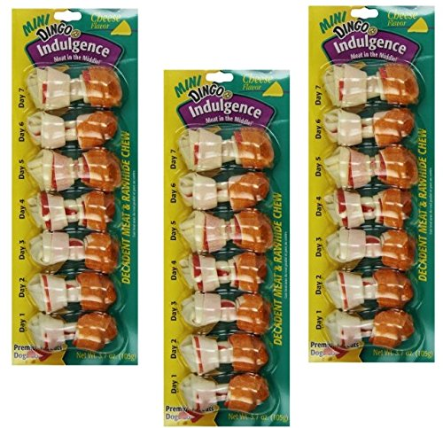 (28-Count Dingo Indulgence Mini Bones, Cheese Flavor - (4 Packs with 7 Mini Bones per Pack))