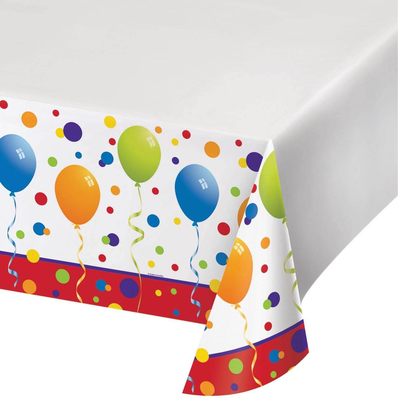 Feliz Cumpleanos Plastic Tablecover 48''x88'' 12ct