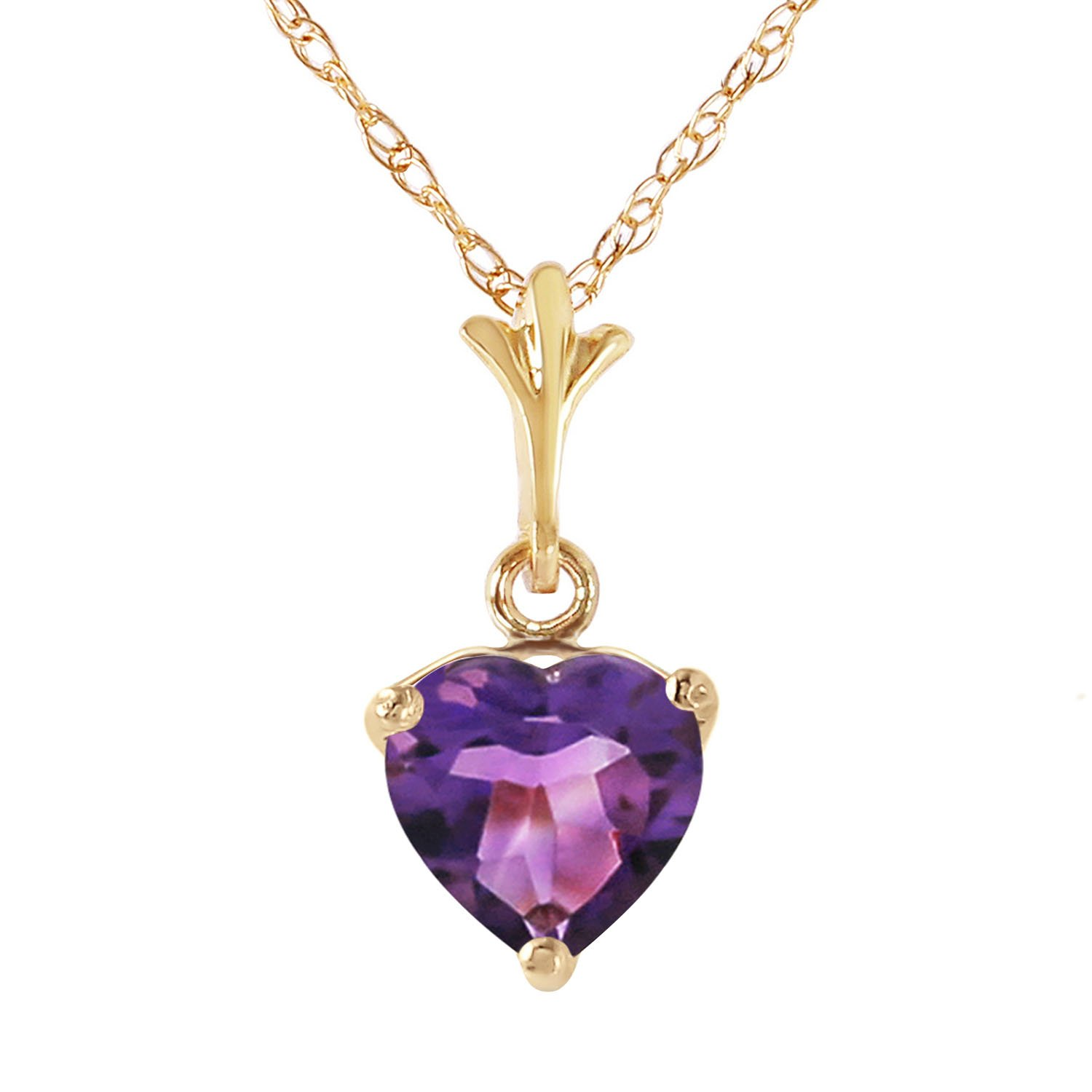 1.15 Carat 14k Solid Gold Heart-shaped Natural Purple Amethyst Pendant Necklace