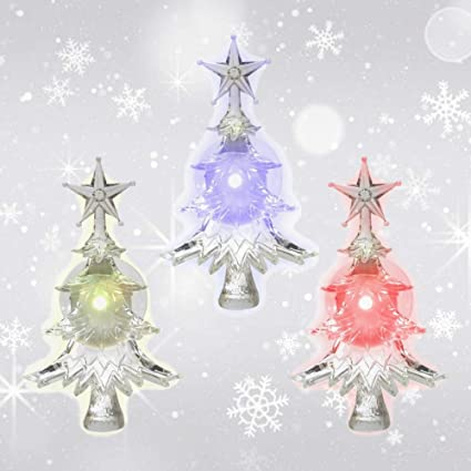 christmas window clings set of 3 suction cup xmas trees led color changing lights - Battery Operated Christmas Decorations
