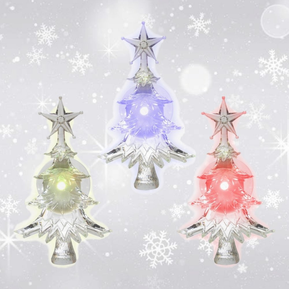 Christmas Window Clings - Set of 3 Suction Cup Xmas Trees - LED Color Changing Lights - Battery Operated Christmas Decorations