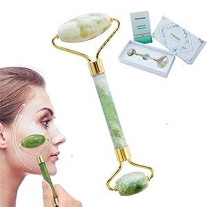 Jade Roller - Facial Skin Massager For Slimming Firming Reduce Wrinkles and Skin Rejuvenate - Original Natural Jade (Light Green)