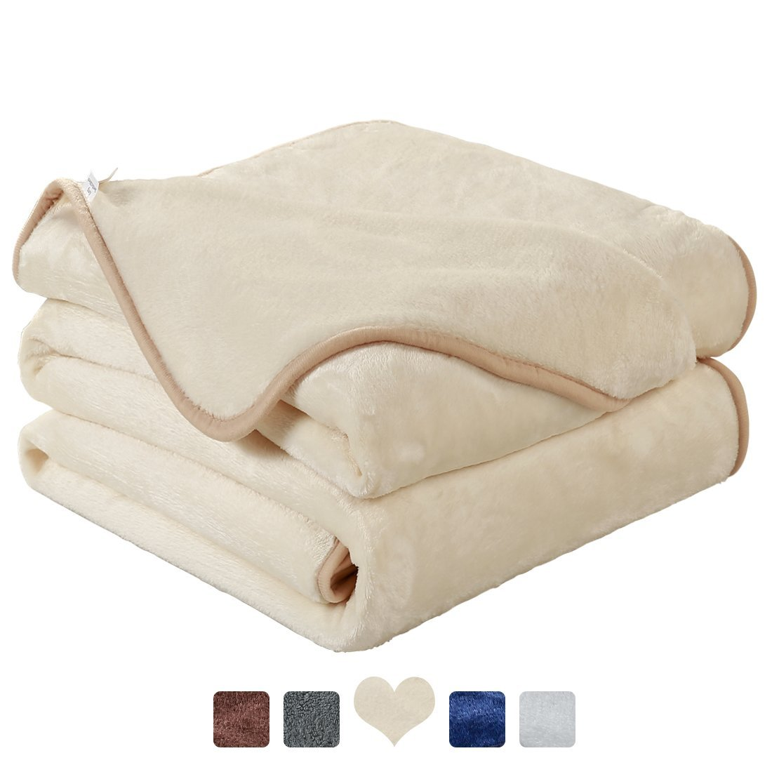 MAEVIS Fleece Luxury Blanket Super Soft Cozy Lightweight Plush Fur Warm All Season Throw for Bed and Couch (Queen, Ivory)