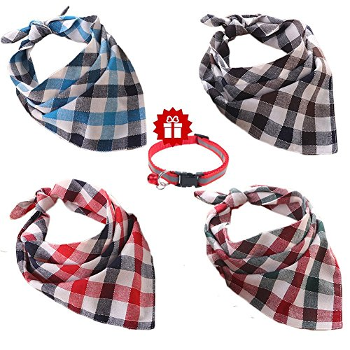 Dog Bib - Ggkidsfunpet 4 Piece Pet Dog Bandana Triangle Bibs Scarf Accessories for Dogs, Cats, Pets Animals