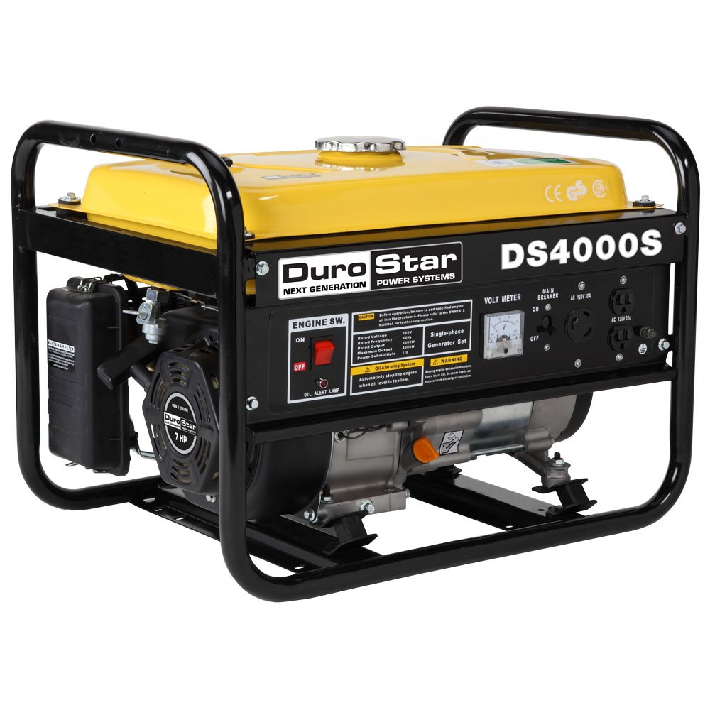 DuroStar DS4000S Gas Powered Portable Generator- 4000 Watt-Recoil Start-Camping & RV Ready, 50 State