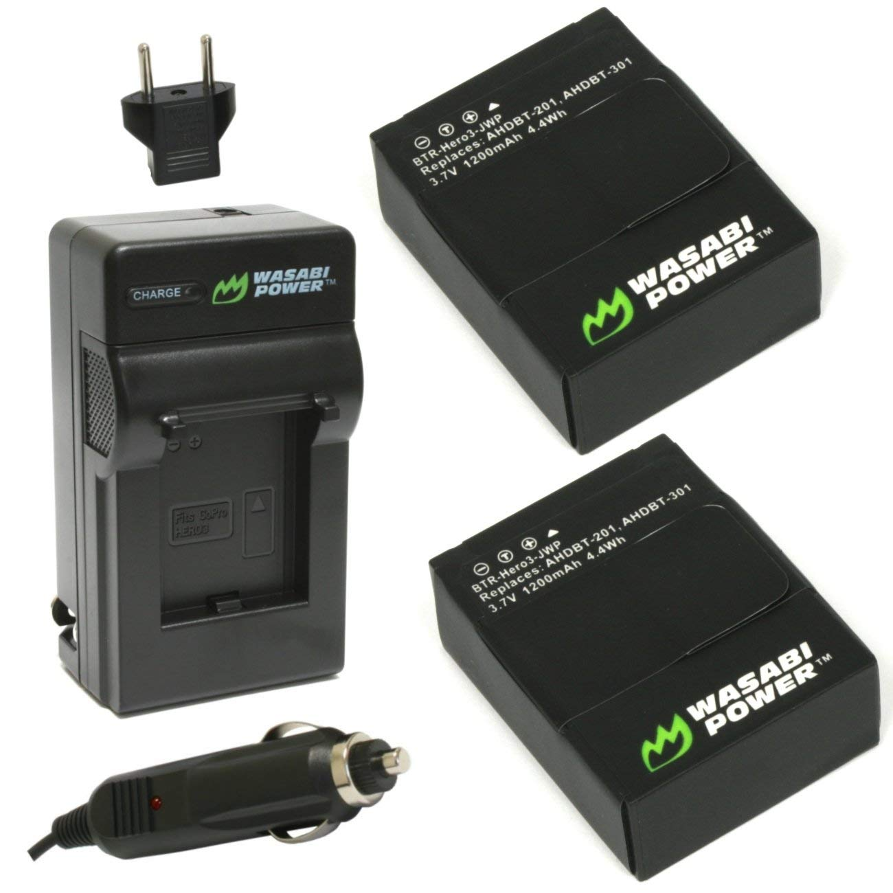 Wasabi Power Battery (2-Pack) and Charger for GoPro HERO3+, HERO3 and GoPro AHDBT-201, AHDBT-301, AHDBT-302 by Wasabi Power