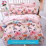 Ttmall 3-pieces Full Queen Size Microfiber Duvet Cover Set, Pink Green Brown Blue Black Butterflies Prints Animal Floral Patterns Design,Without Comforter (Full/Queen, (1Duvet Cover+2Pillowcases)#01)
