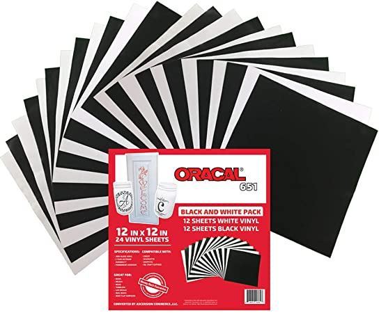 Amazon Com Oracal 651 Black And White Pack Adhesive Craft Vinyl For Cricut Silhouette Cameo Craft Cutters Printers And Decals 12 X 12 24 Sheets Gloss Finish Outdoor